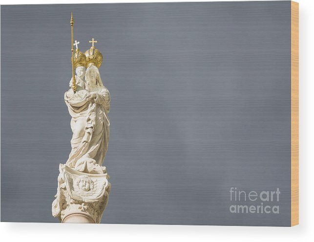Art Wood Print featuring the photograph Virgin Mary And Baby Jesus Horizontal by Ferenc Kosa