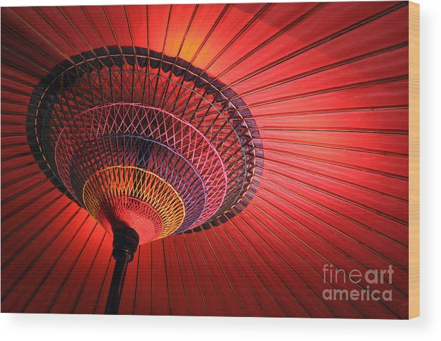 Japanese Wood Print featuring the photograph Wagasa by Delphimages Photo Creations