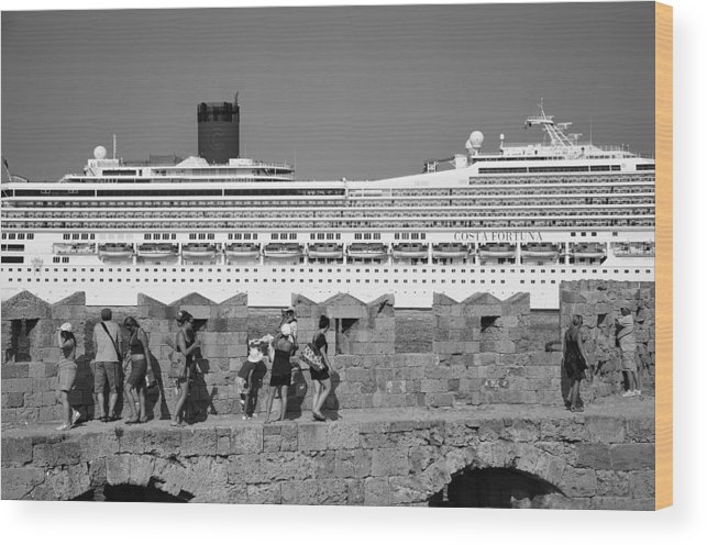 Rhodes Wood Print featuring the photograph Walking On The Fortification by George Atsametakis
