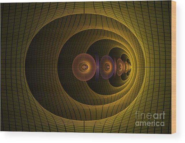 Fractal Wood Print featuring the digital art Warped Corridor by Fairy Fantasies