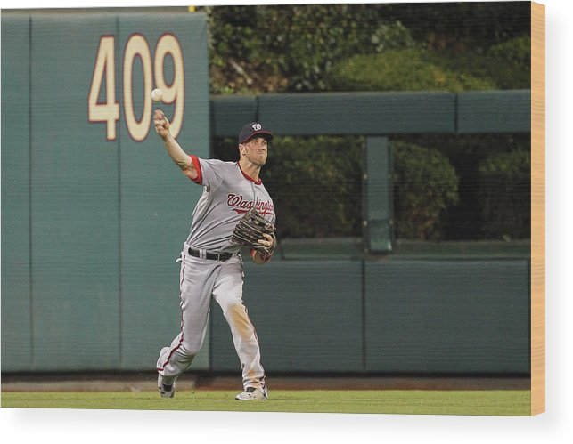 Ball Wood Print featuring the photograph Washington Nationals V Philadelphia by Brian Garfinkel