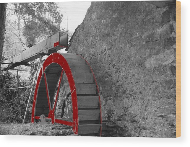 Water Wood Print featuring the photograph Water Wheel. by Christopher Rowlands