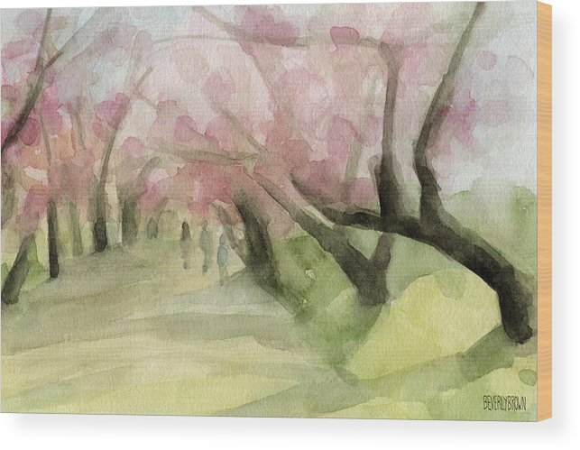 Landscape Wood Print featuring the painting Watercolor Painting Of Cherry Blossom Trees In Central Park Nyc by Beverly Brown