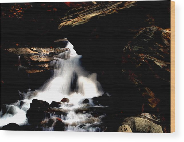 Waterfall Wood Print featuring the photograph Waterfall- Viator's Agonism by Vijinder Singh