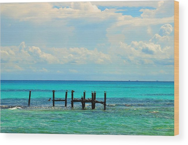 Water Wood Print featuring the photograph waters of Mexico  by Puzzles Shum