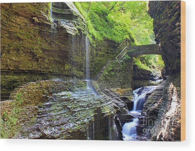 Bridge Wood Print featuring the photograph Watkins Glen Cascades by Mary and Curt Johnston