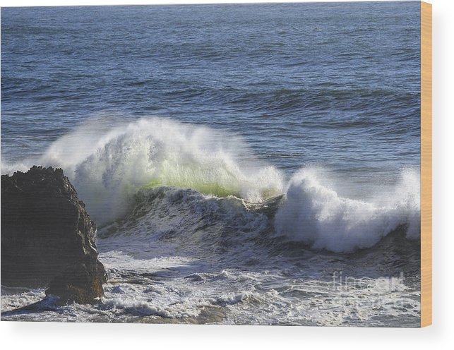 Bodega Bay California Wave Waves Water Oceans Sea Seas Pacific Ocean Bays Rock Formation Formations Rocks Spray Shore Shores Shoreline Shorelines Coast Coasts Coastline Coastlines Waterscape Waterscapes Wood Print featuring the photograph Wave Color by Bob Phillips