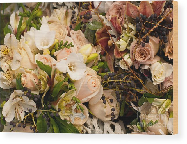 Wedding Wood Print featuring the photograph Wedding Bouquets 01 by Rick Piper Photography