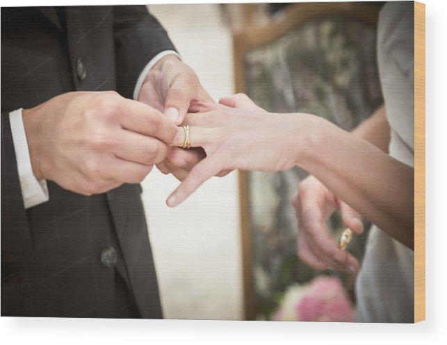Wedding Ring Exchange Wood Print