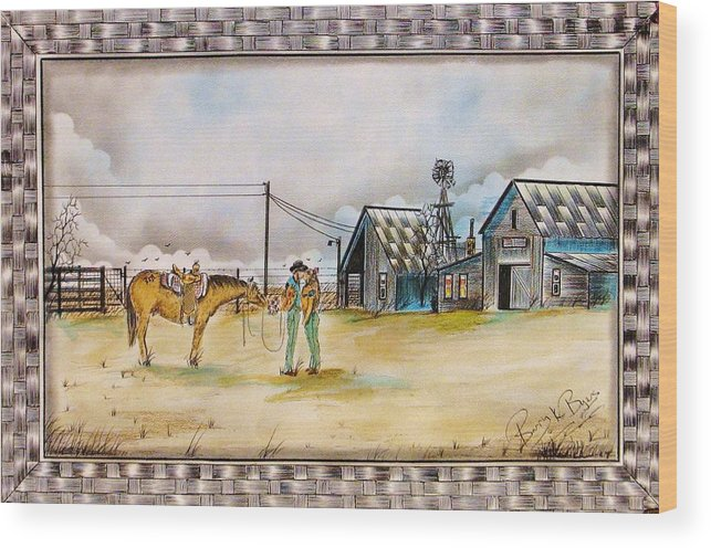 Native American Wood Print featuring the painting Welcome Home by Kicking Bear Productions
