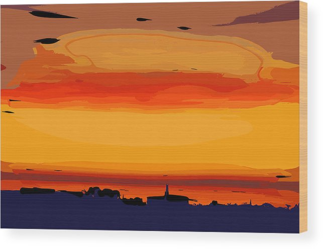 Sunset Wood Print featuring the digital art Western Sky by Kirt Tisdale