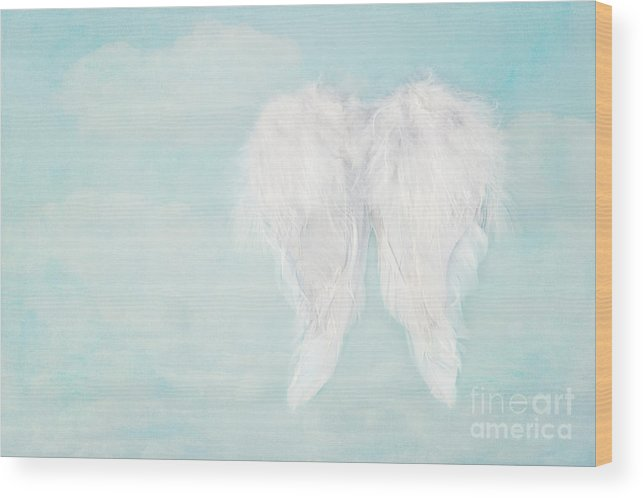 White Angel Wings On Blue Sky Background Wood Print by Anna-Mari West