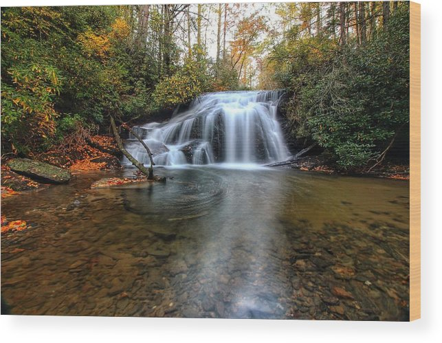 White Owl Falls Wood Print featuring the photograph White Owl Swirl by Chris Berrier