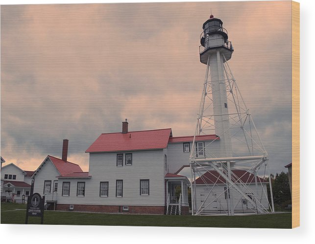 Whitefish Point Wood Print featuring the photograph Whitefish Point Light by Linda Kerkau