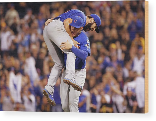 Playoffs Wood Print featuring the photograph Wild Card Game - Chicago Cubs V by Justin K. Aller