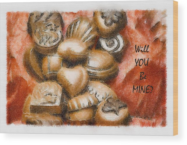 Candy Wood Print featuring the mixed media Will You Be Mine by Trish Tritz