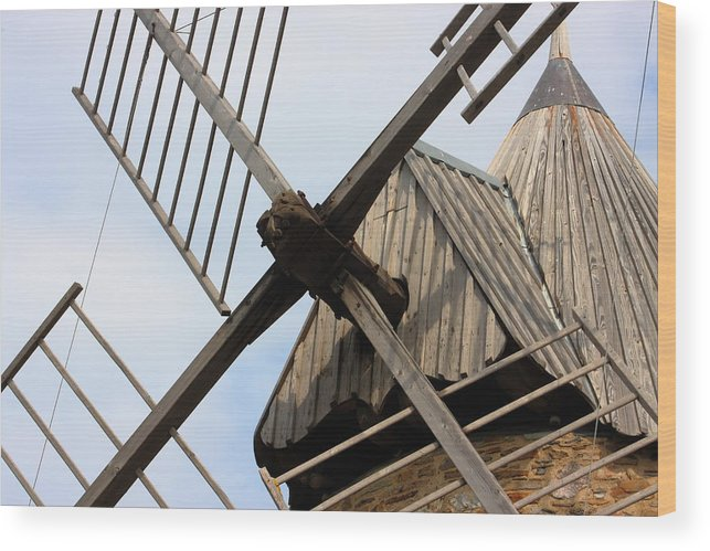 Windmill Wood Print featuring the photograph Windmill by Carrie Warlaumont