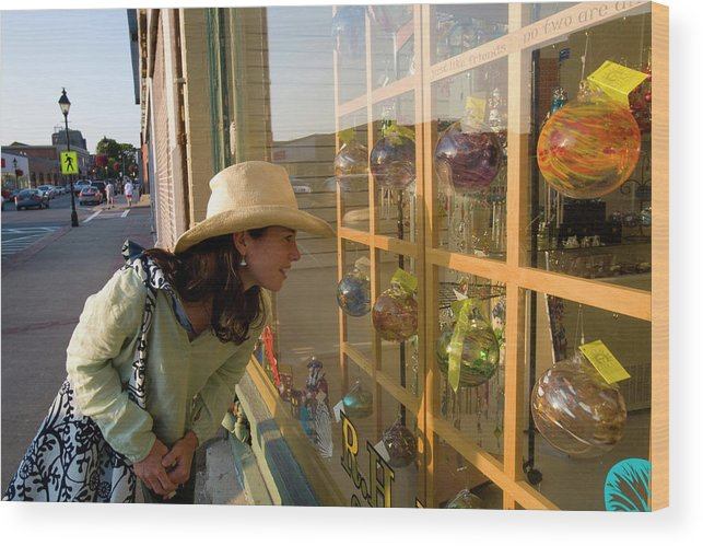 30-35 Years Old Wood Print featuring the photograph Window Shopping In Downtown Yarmouth by David McLain