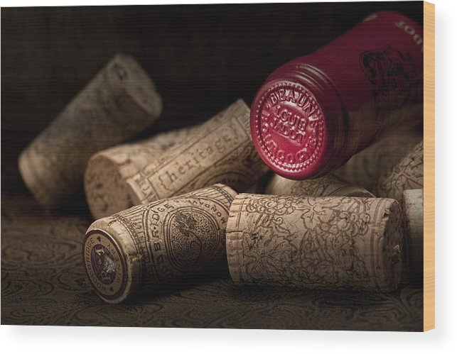 Wine Cork Wood Print featuring the photograph Wine Corks Still Life Iv by Tom Mc Nemar