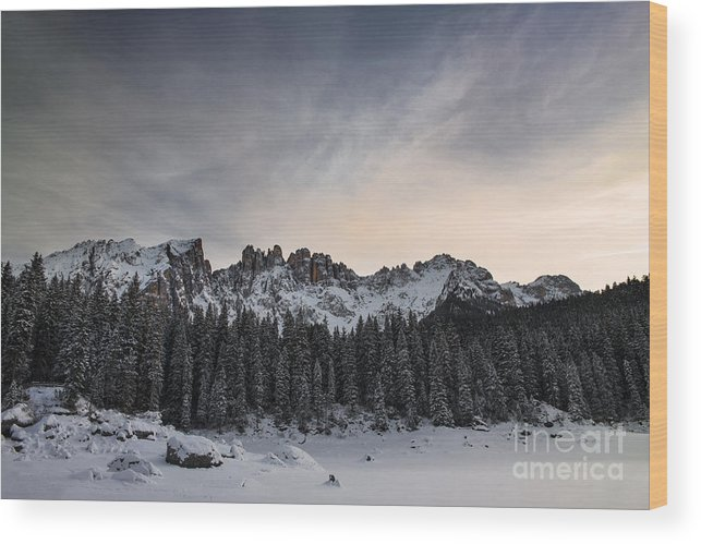 Carezza Lake Wood Print featuring the photograph Winter On The Carezza Lake by Yuri San