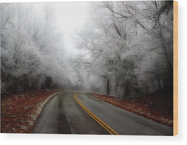 Frosted Roadway Wood Print featuring the photograph Winter Road Trip by Michael Eingle