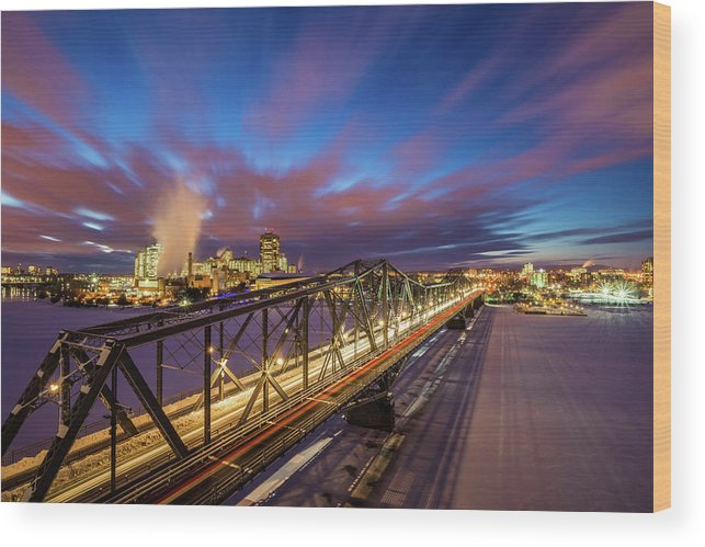 Tranquility Wood Print featuring the photograph Winter Twilight Across Alexandra Bridge by Wichan Yingyongsomsawas