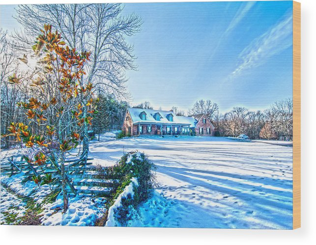 Winters Day Photo Art From The Fence Wood Print featuring the photograph Winters Day Photo Art From The Fence by Randall Branham