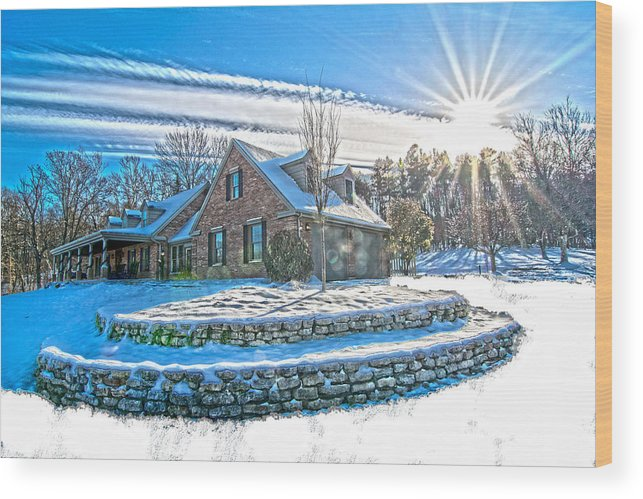 Winters Day Wood Print featuring the photograph Winters Day Photoart 6 by Randall Branham