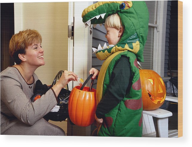 Halloween Costume 4 5.Woman Giving Candy To Boy 4 6 In Halloween Costume Profile Wood Print