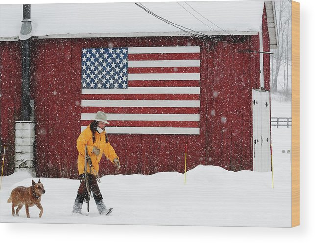Benton Wood Print featuring the photograph Woman Walking Near American Flag by Beck Photography