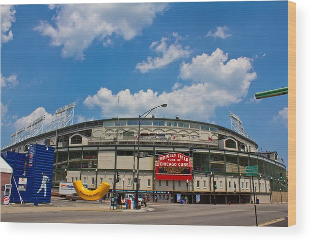 Chicago Wood Print featuring the photograph Wrigley Field And Clouds by John McGraw
