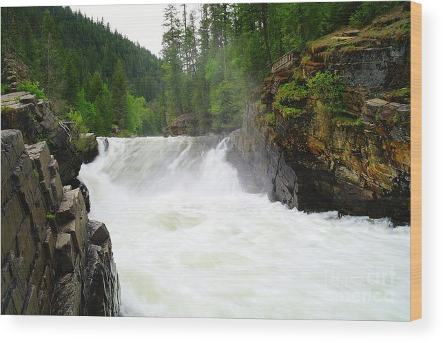 Water Wood Print featuring the photograph Yaak Falls by Jeff Swan