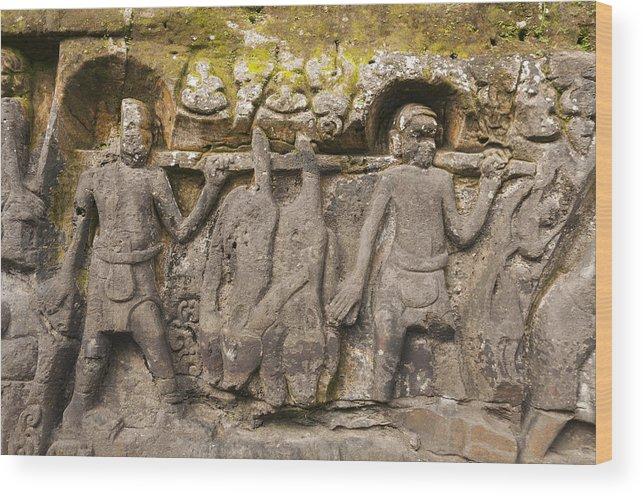 Yeh pulu hindu relief carvings wood print by john elk iii