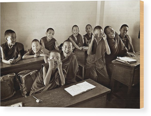 Children Wood Print featuring the photograph Young Monks by Valerie Rosen