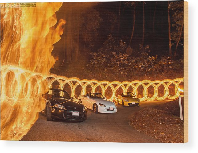 Car Cars Audi Honda Night Dark Fire Yellow Wood Print featuring the photograph Your Cars On Fire by Alexey Orlov