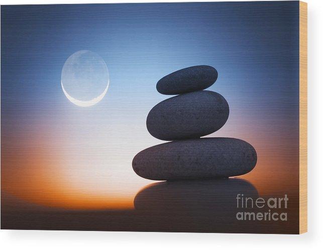 Zen Wood Print featuring the photograph Zen Stones At Night by Konstantin Sutyagin