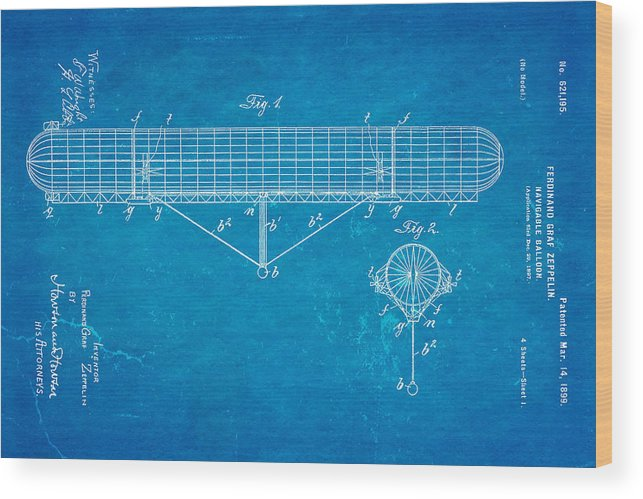 Aviation Wood Print featuring the photograph Zeppelin Navigable Balloon Patent Art 1899 Blueprint by Ian Monk