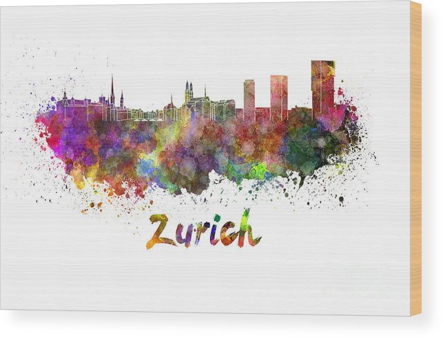 Zurich Skyline Wood Print featuring the painting Zurich Skyline In Watercolor by Pablo Romero