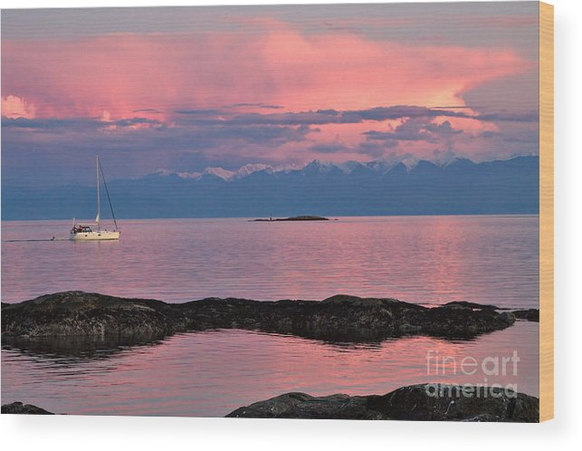 Sailboat Wood Print featuring the photograph Cattle Point And The Strait Of Juan De Fuca by Louise Heusinkveld