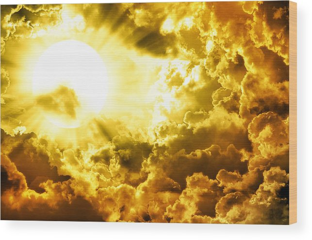 Above Wood Print featuring the mixed media Dark Sky With Sun by Nattapon Wongwean