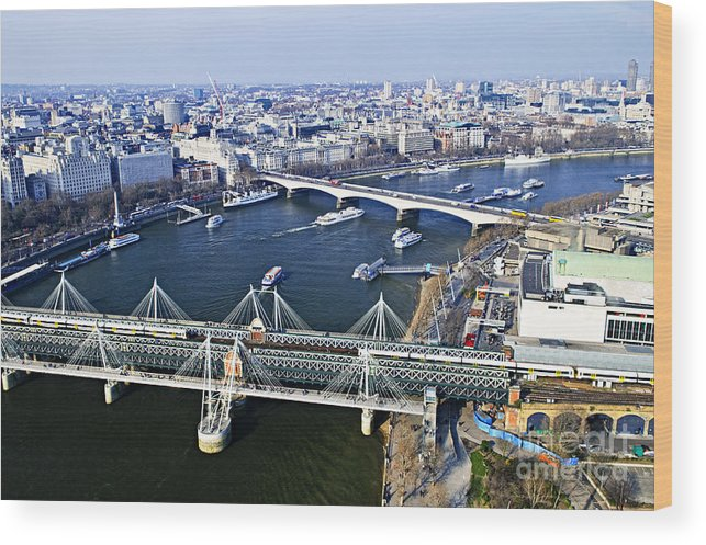 Hungerford Wood Print featuring the photograph Hungerford Bridge Seen From London Eye by Elena Elisseeva