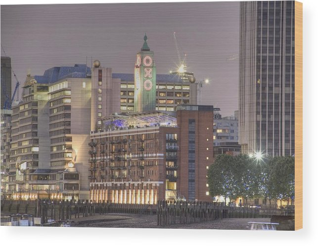 Oxo Wood Print featuring the photograph Oxo Tower Night  by David French
