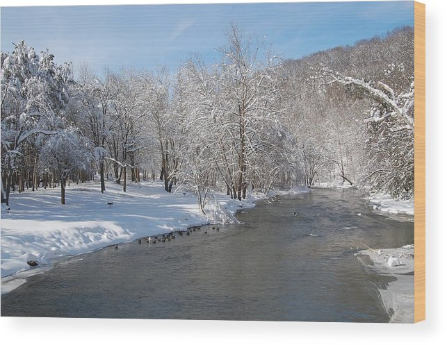 Beaver Creek State Park Wood Print featuring the photograph Snow At The Creek by Juanita L Ruffner