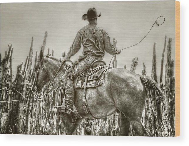 Cowboy Wood Print featuring the photograph Starting A New Loop by Megan Chambers