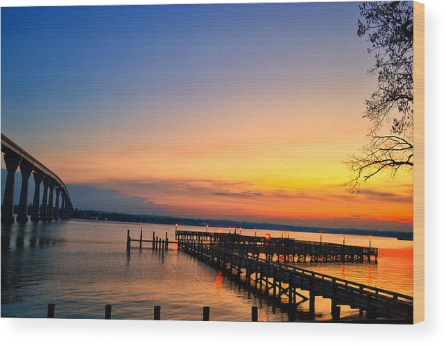 Sunset Wood Print featuring the photograph Sunset Bridge by Kelly Reber