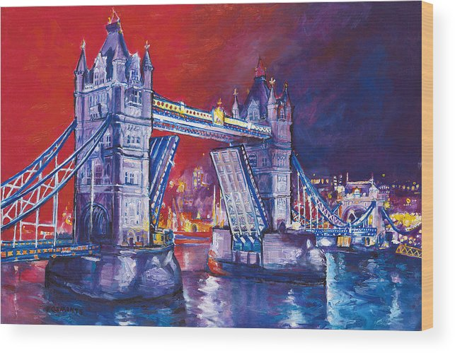 High Quality Giclee Print. Limited Edition Wood Print featuring the painting Tower Bridge London by Patricia Clements