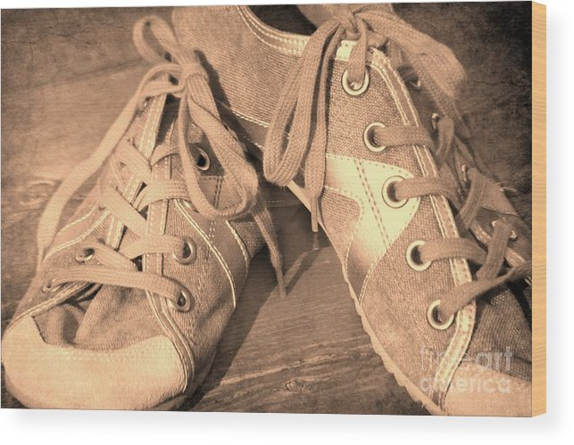 Sneakers Wood Print featuring the photograph Vintage Sneakers by Sophie Vigneault