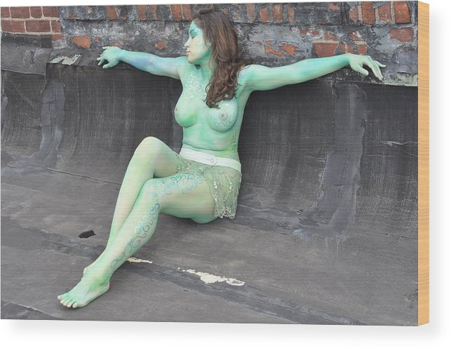 Blue Wood Print featuring the photograph Kasper Body Painting by RoByn Thompson