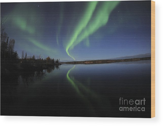 Yellowknife Wood Print featuring the photograph Aurora Borealis Over Long Lake by Jiri Hermann