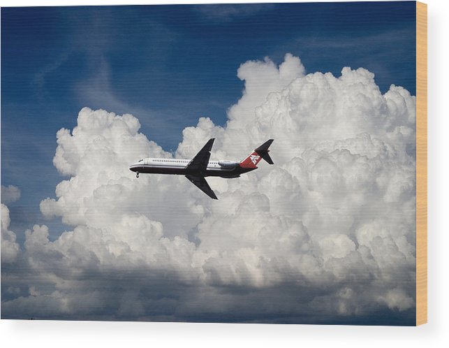Flight Fly Aircraft Airplane Airliner Jet Jetliner Passenger Summer Clouds Cumulonimbus Wood Print featuring the photograph Passenger Jet And Clouds by Carl Purcell